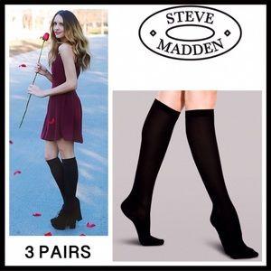 STEVE MADDEN 3 PAIRS BLACK TALL BOOT SOCKS A3C